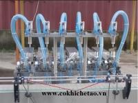 Máy chiết rót 6 vòi tự động có băng tải - Máy chiết dịch lỏng, dịch sệt, tinh dầu, mật ong, nước mắm