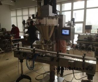Máy chiết rót có băng tải - Máy chiết định lượng trục vít, máy chiết thực phẩm, mỹ phẩm